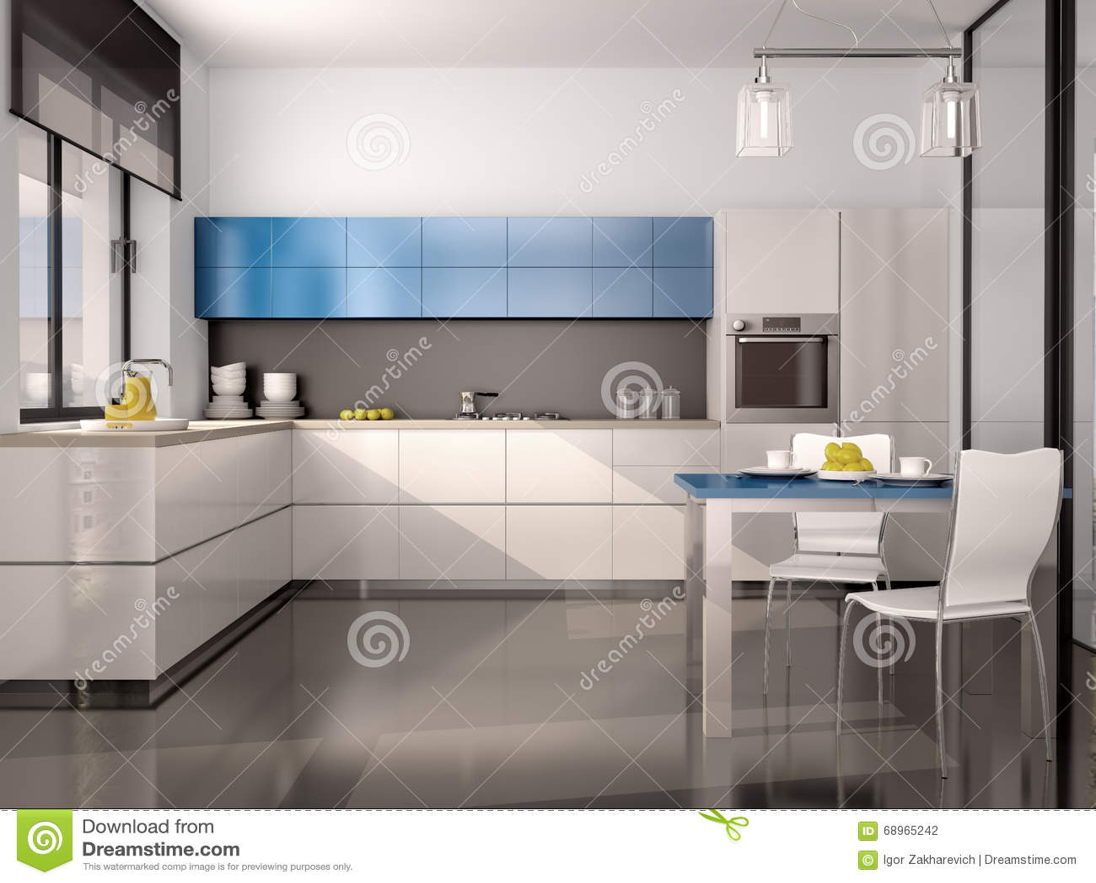 Illustration av inre av modernt kök i vita blåa grå färger stock ...