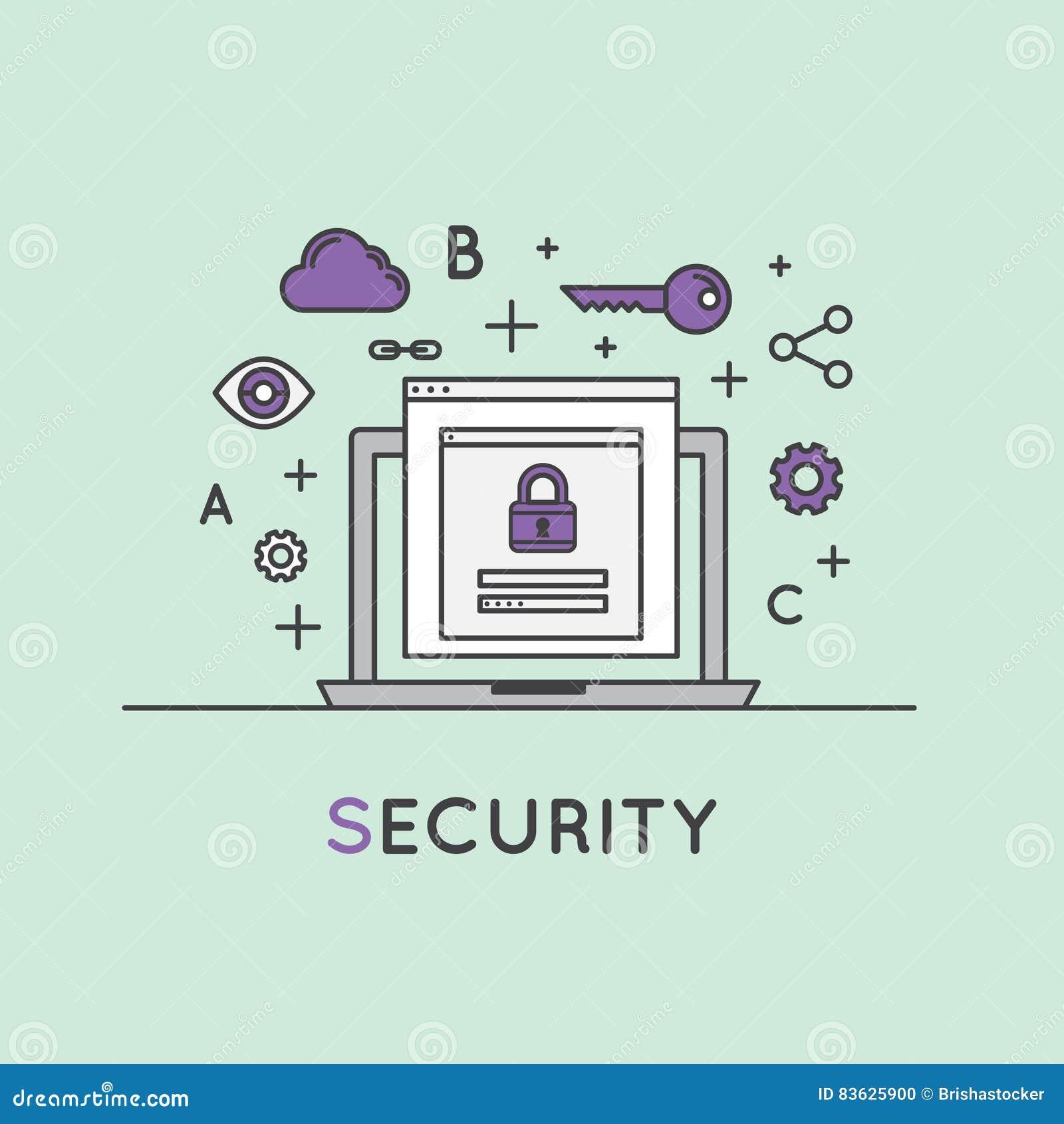 Illustration av internetsäkerhet, dataskydd, säkert datautbyte, kryptografi