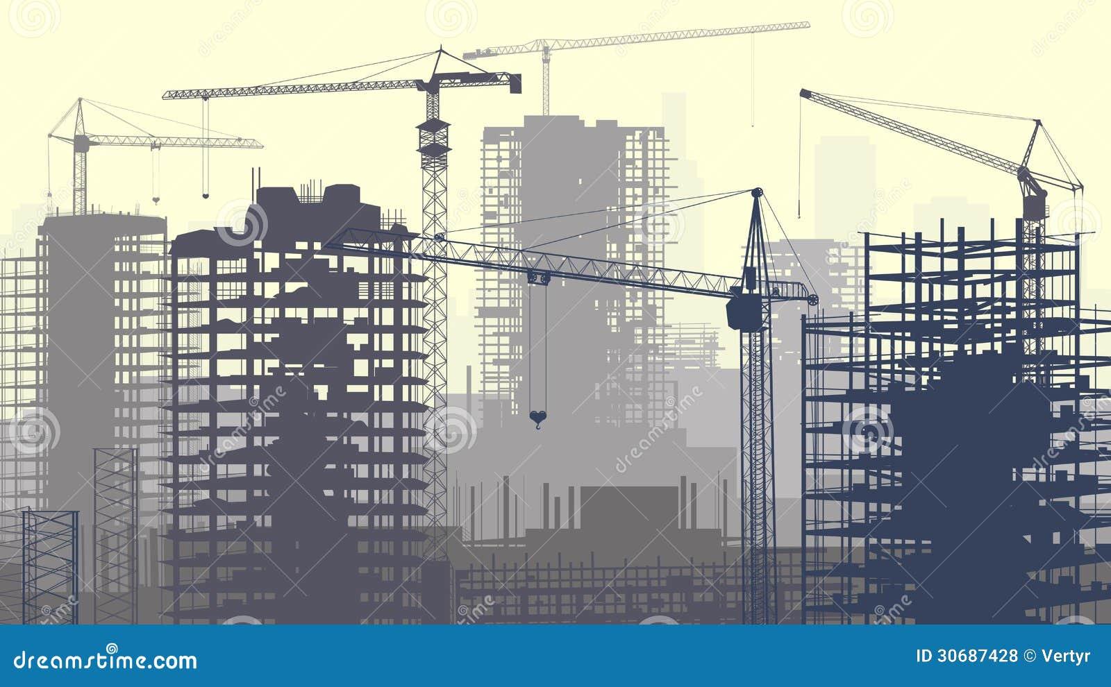 Illustration av konstruktionsplatsen med kranar och byggnad.