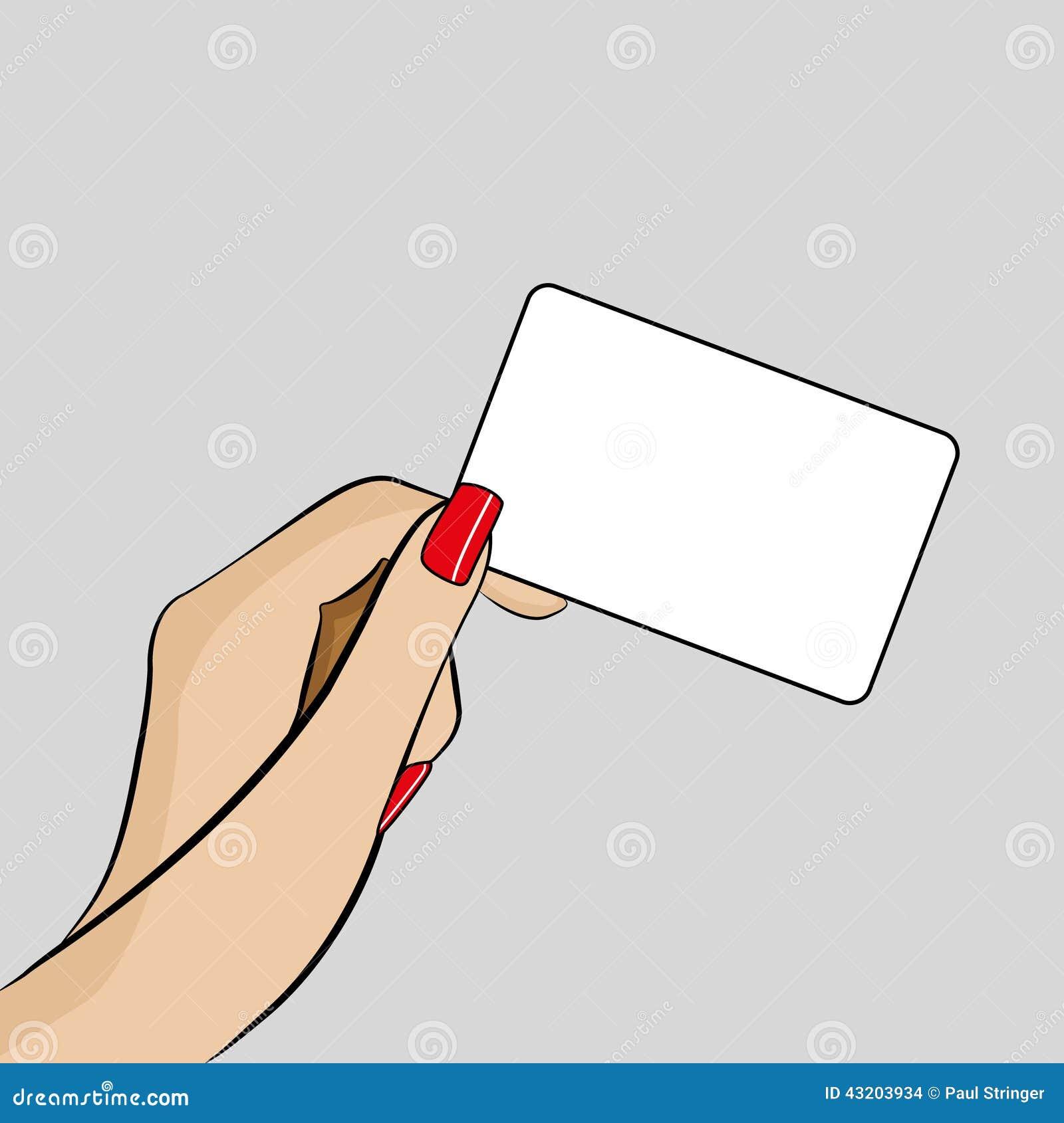 Download Illustration Av Kvinnas Hand Som Rymmer Ett Affärskort Stock Illustrationer - Illustration av person, design: 43203934