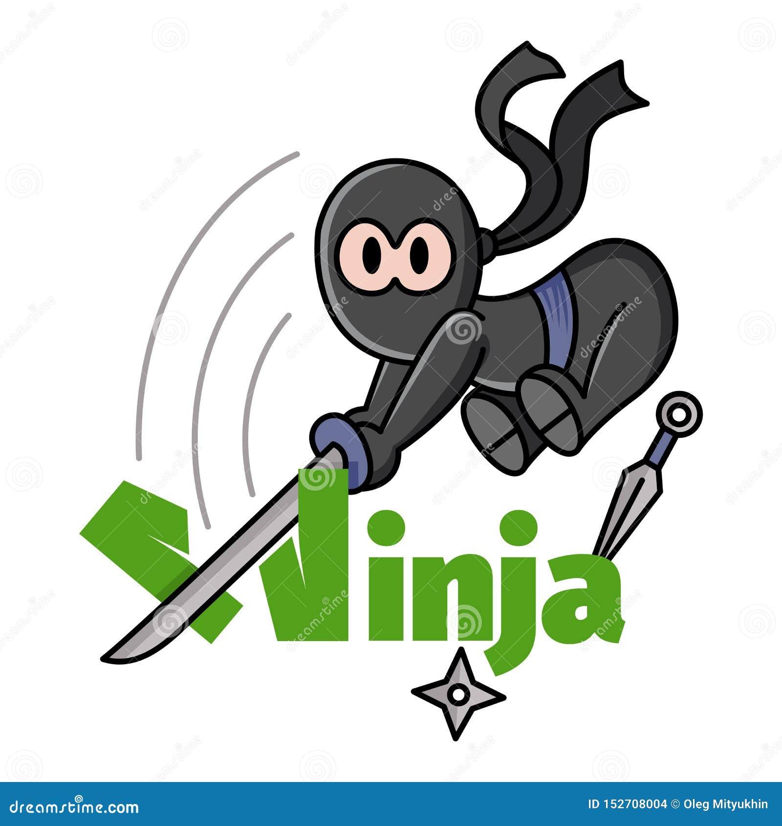 Illustration av lite att hoppa rolig chibininja Tecknad film f?r tecken f?r k?mpe f?r Ninja samurajkrigare Design f?r trycket, t-