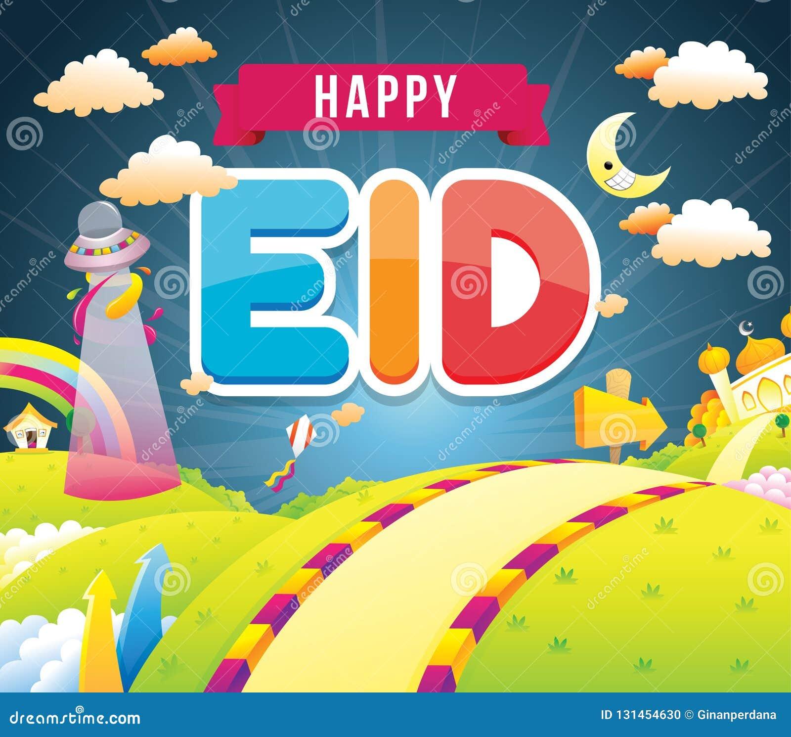 Illustration av lycklig eid med moskén