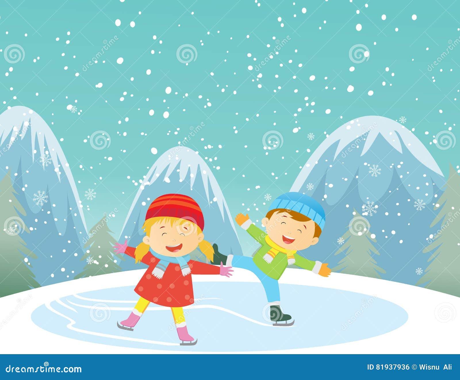 Illustration av lyckliga ungar som utomhus åker skridsko