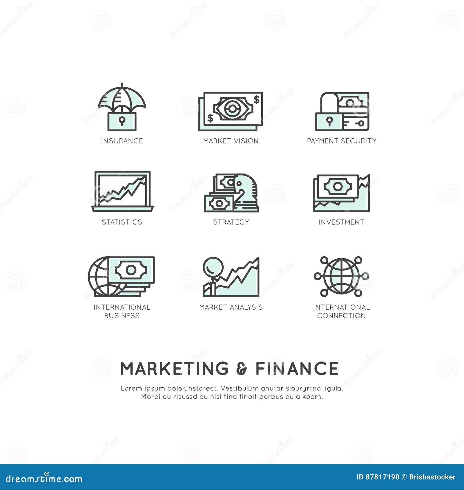 Illustration av marknadsföringen och finans, affärsvision, investering, ledningprocess, finansjobb, inkomst, intäktkälla