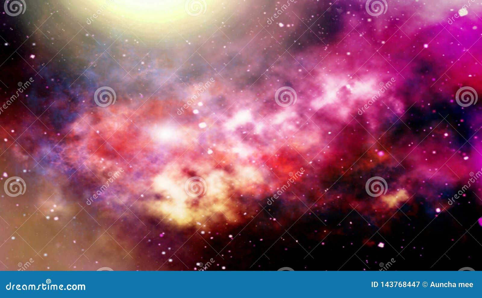 Illustration av planeter och galaxen, sciencetapet _