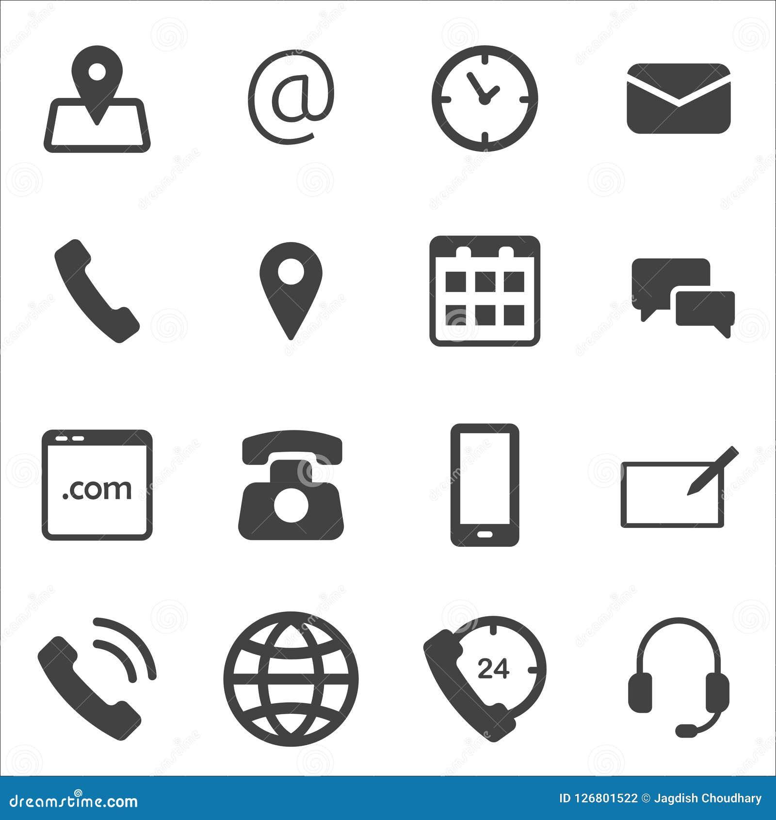 Illustration av samlingen av olika symboler av kommunikationen Kommunikationssymbolsbild för UI, rengöringsdukdesign, app-design