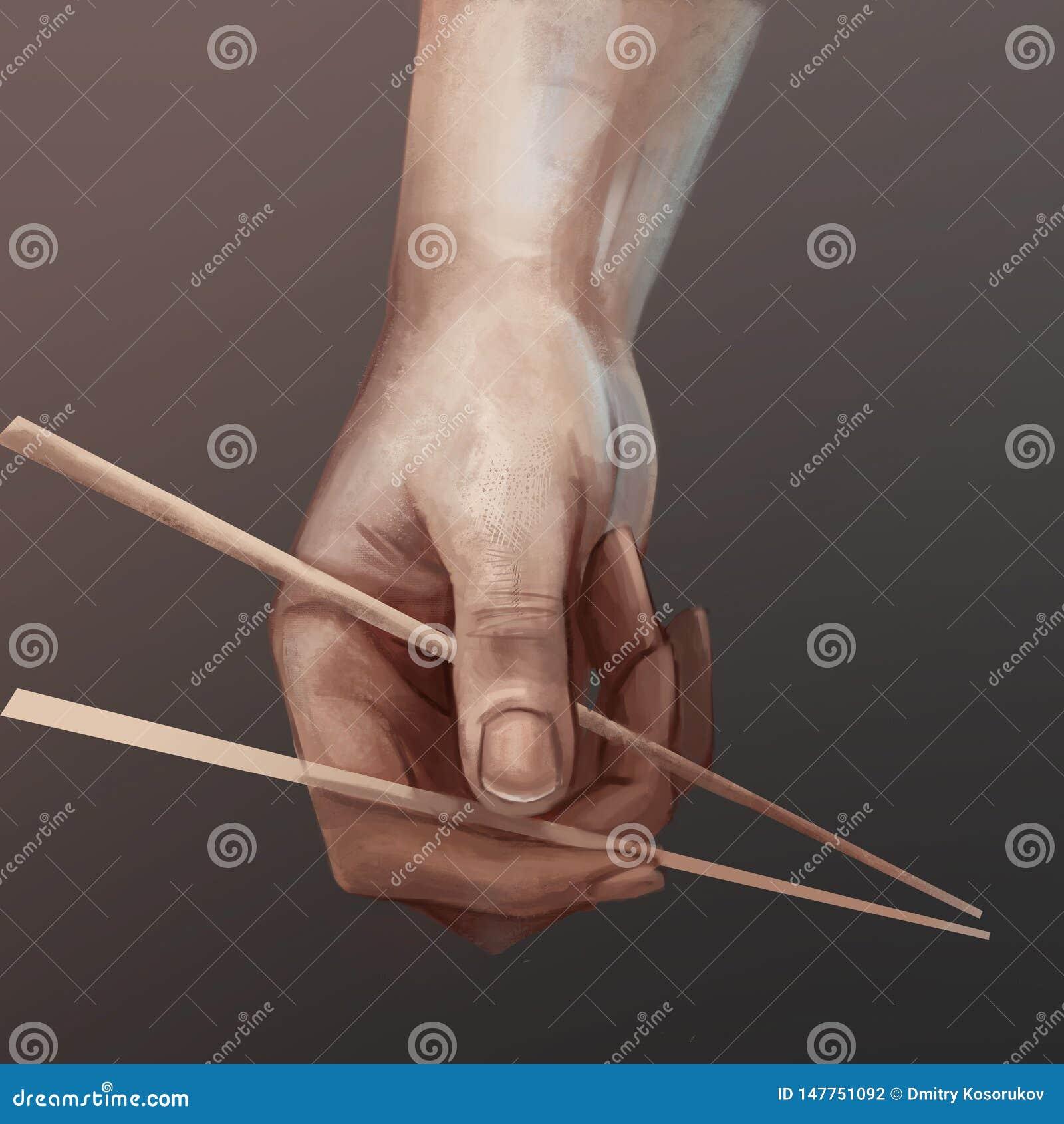 Illustration av sushipinnar i hand