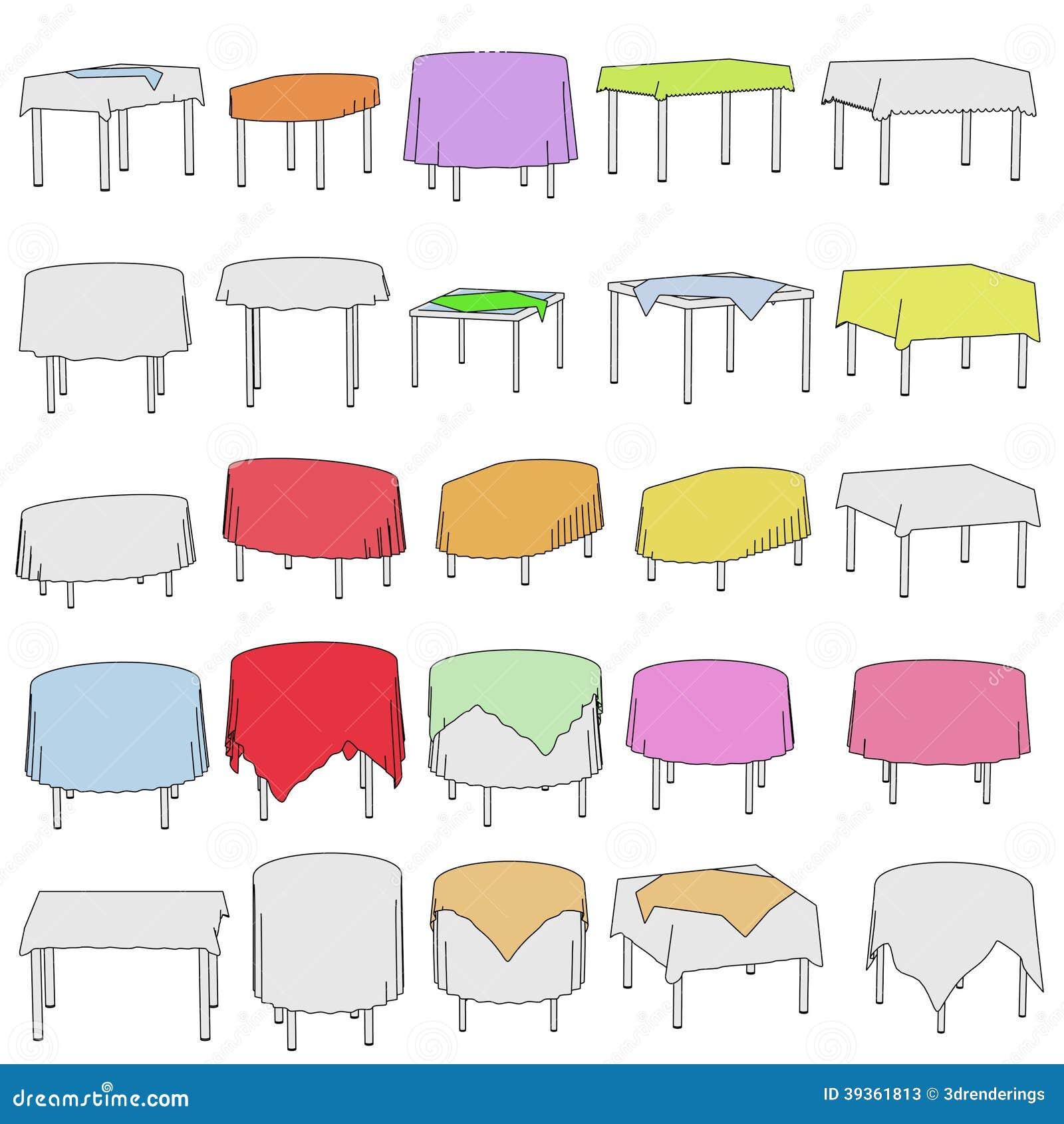 Illustration Av Tabellen Med Tableclothes Stock Illustrationer