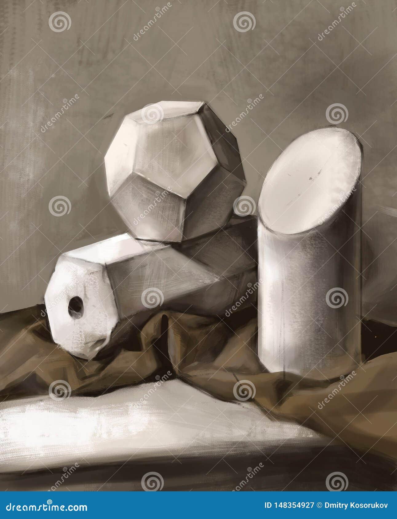 Illustration av tredimensionella geometriska former