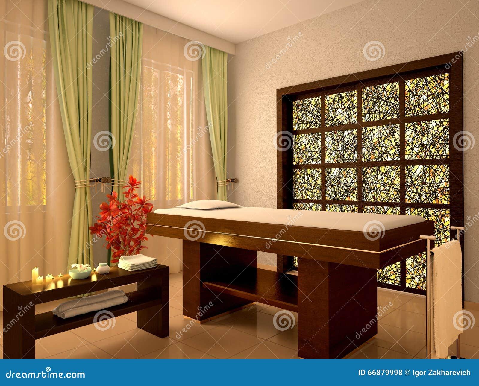 Illustration av trevligt massagerum i brunnsortsalong