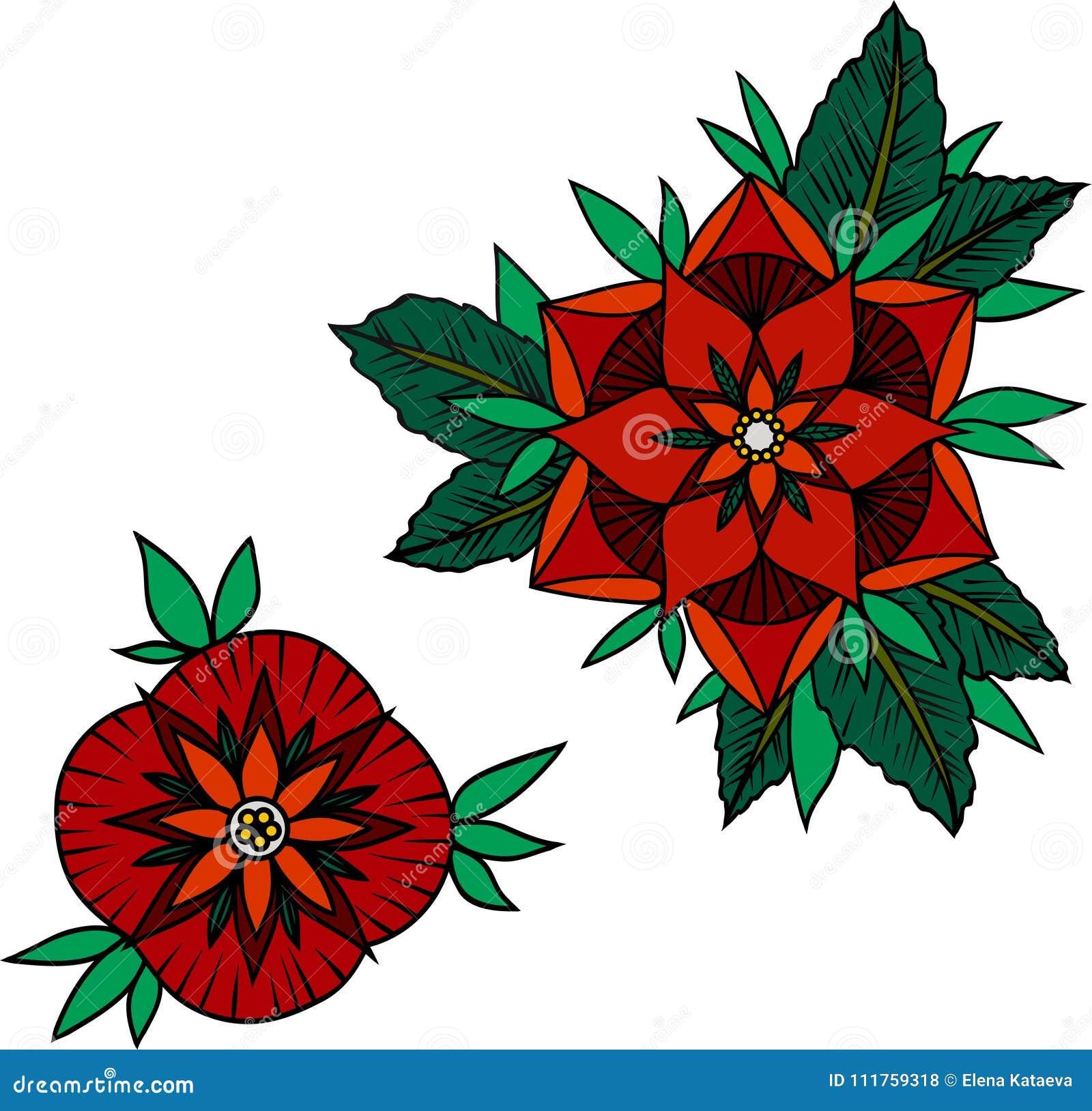 Illustration av två röda rosor på en vit bakgrund
