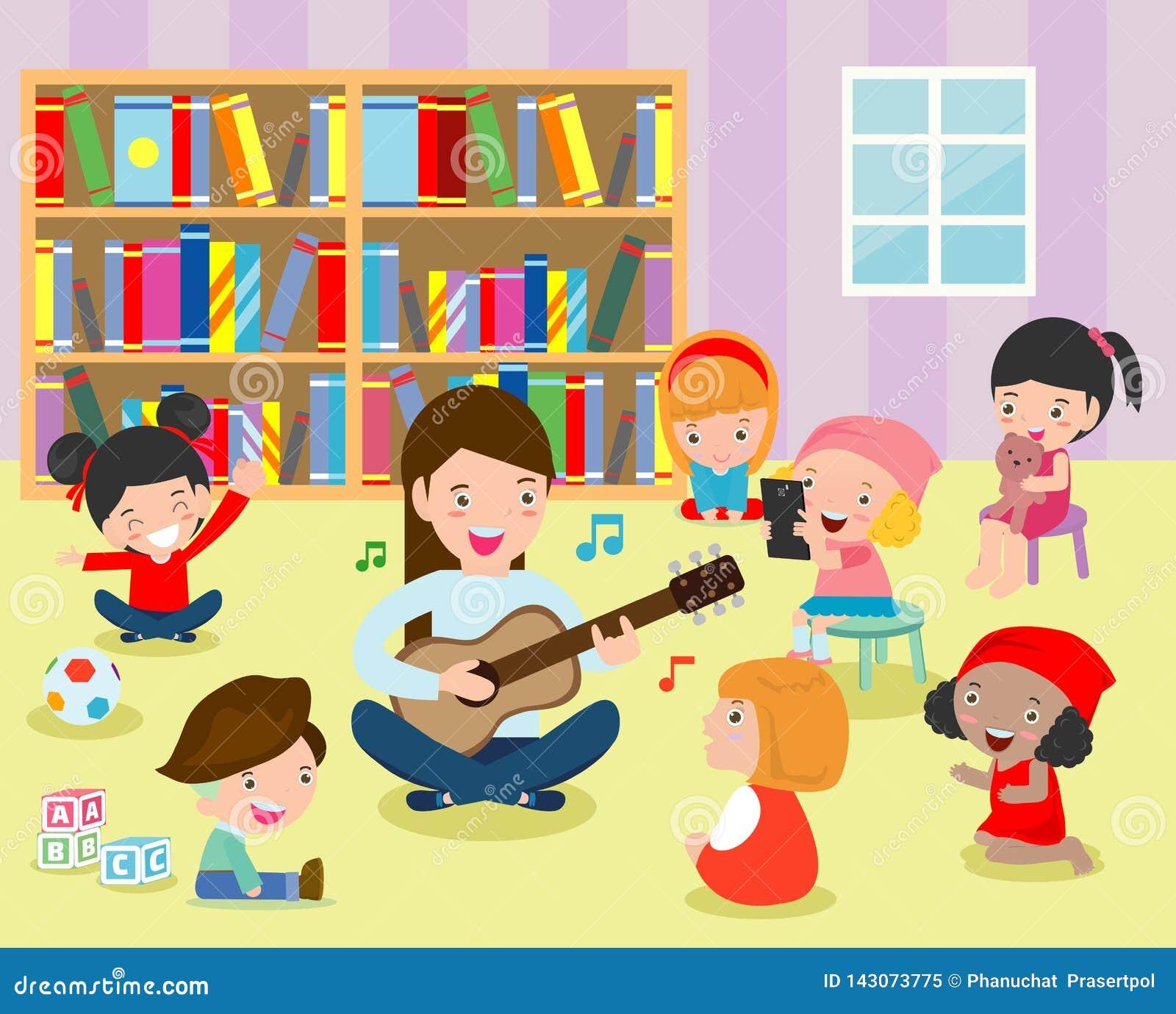 Illustration av ungar som lyssnar till deras lärare Play gitarren i klassrumet Plan design