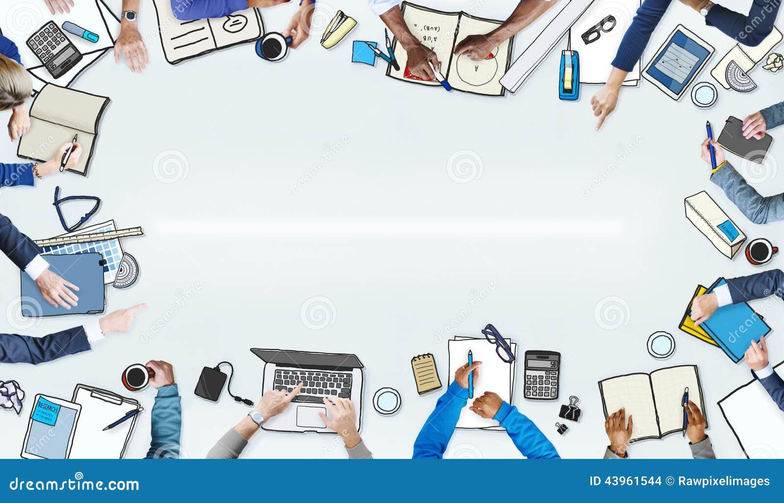 Illustration av upptaget möte för affärsfolk