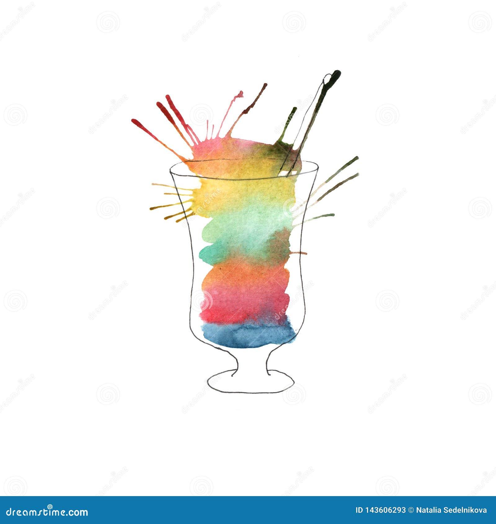 Illustration av vattenfärgcoctailen