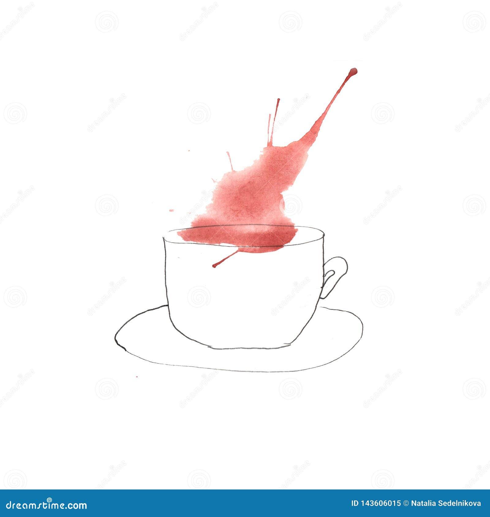 Illustration av vattenfärgkaffe