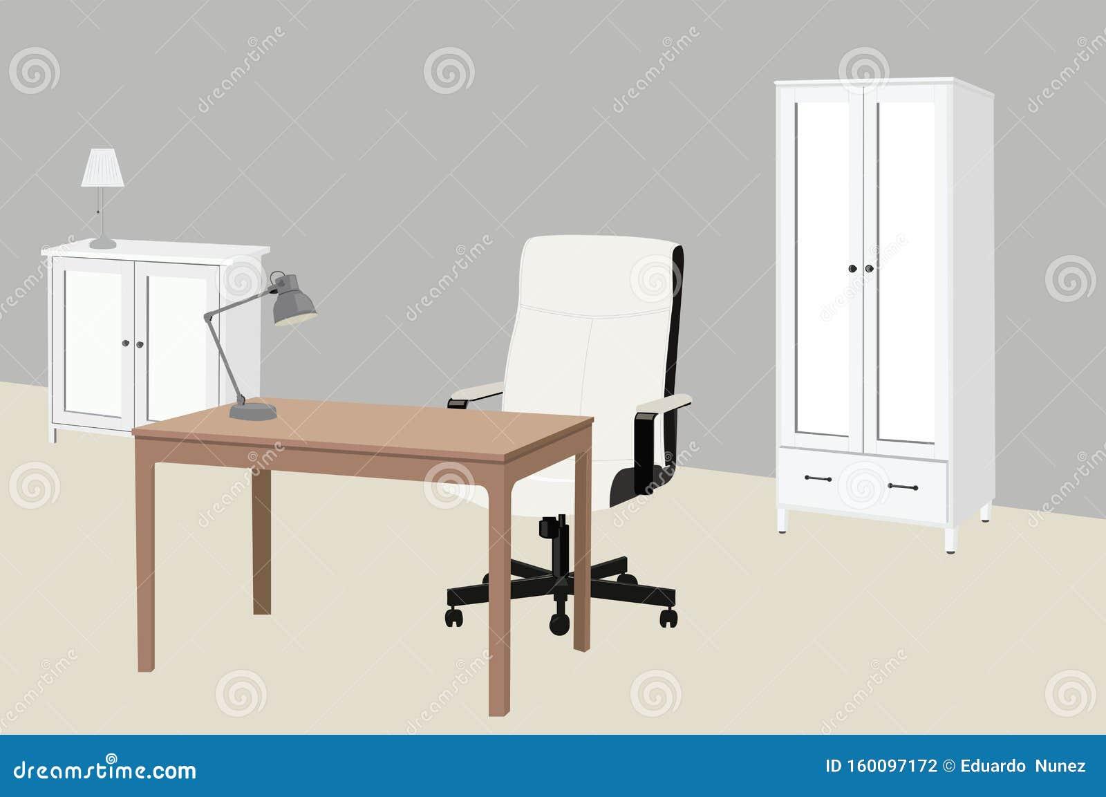 Illustration Av Vektorer I Ett Studierum Eller Ett Kontor