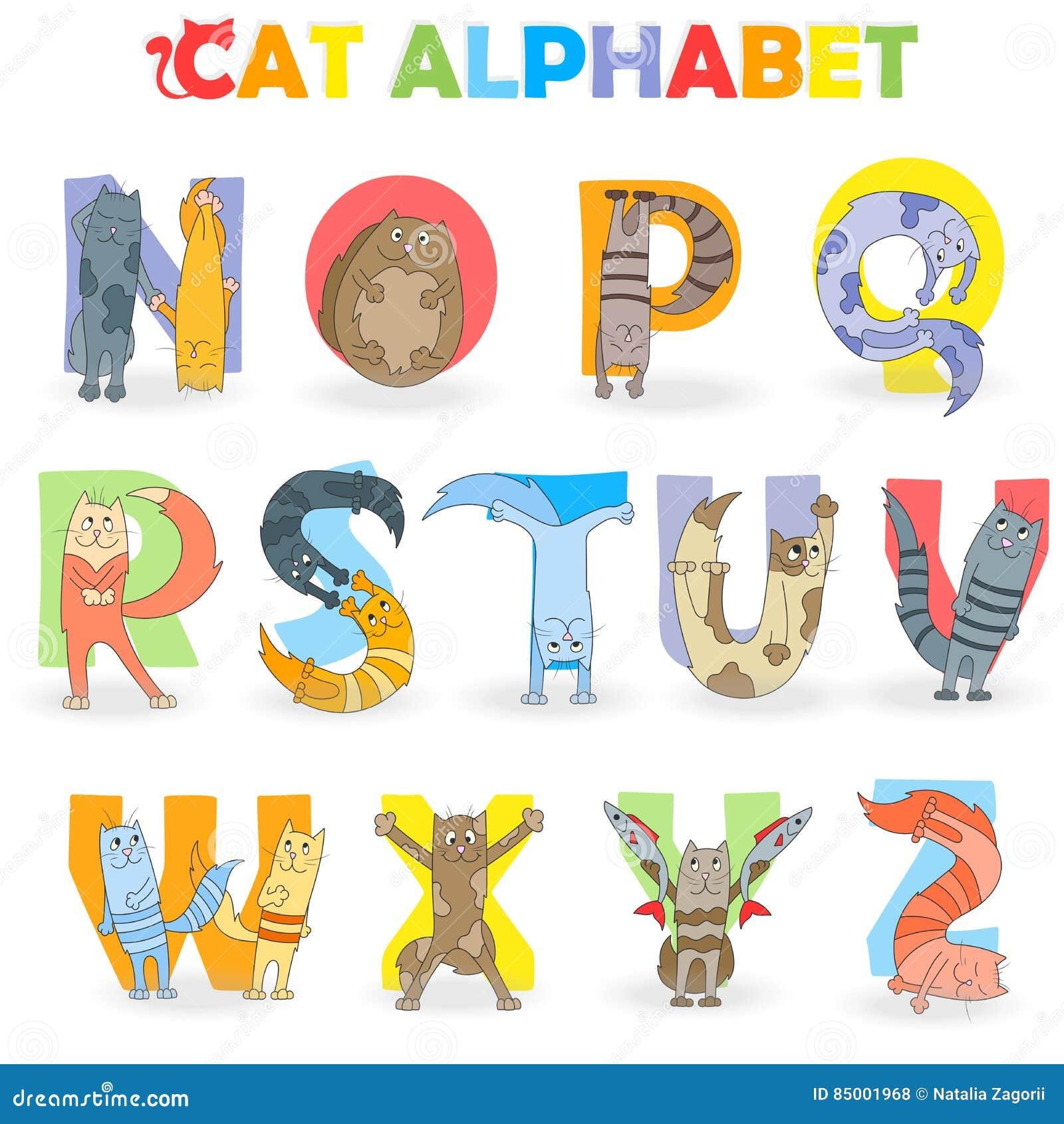 Illustration avec la partie d alphabet latin, de N à Z, chat drôle de bande dessinée sous forme de lettres
