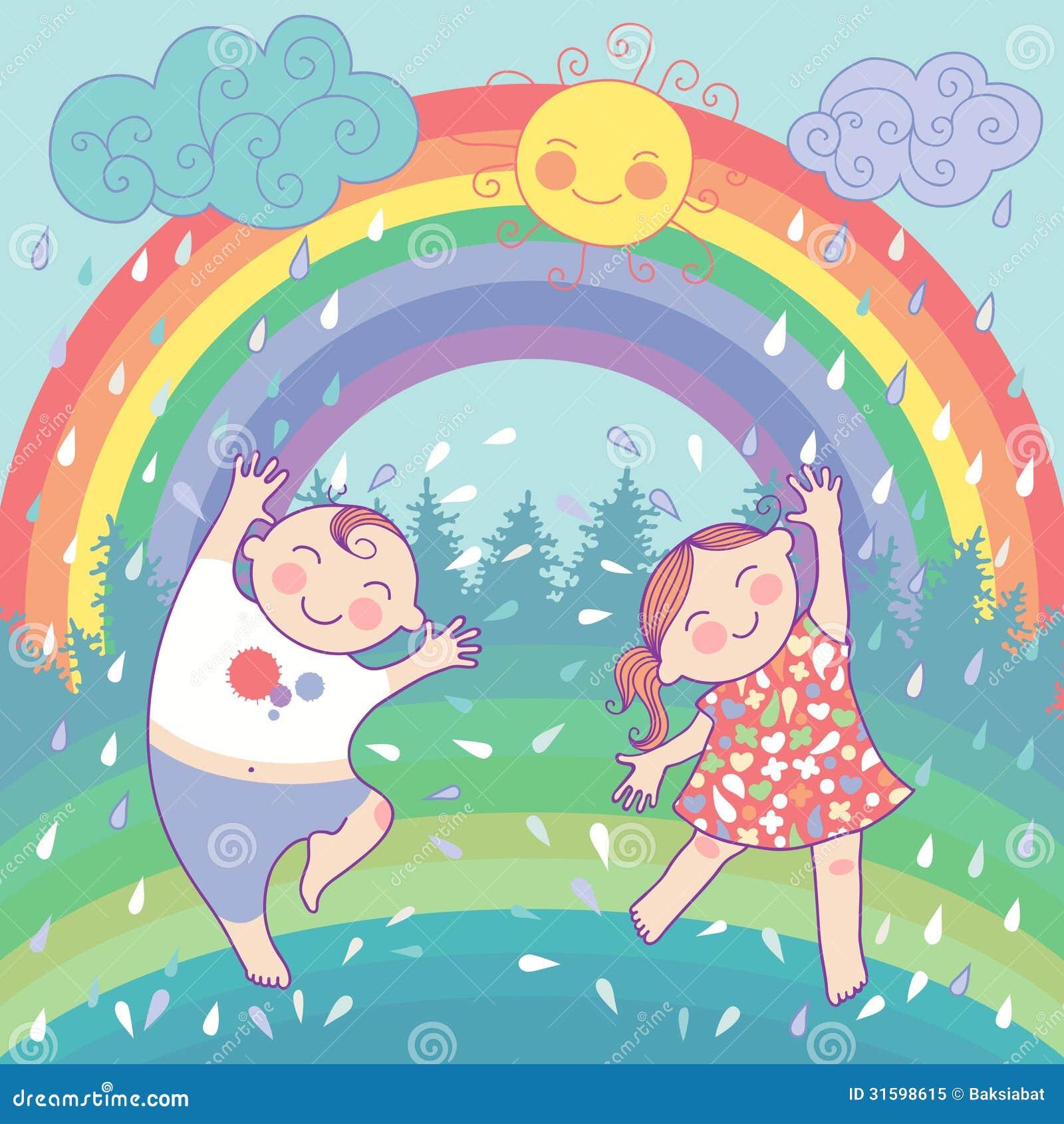 Illustration avec les enfants heureux, arc-en-ciel, pluie, s
