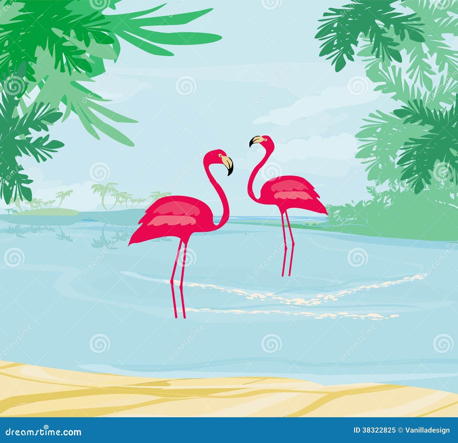 illustration avec les paumes vertes et le flamant rose photo libre de droits image 38322825. Black Bedroom Furniture Sets. Home Design Ideas
