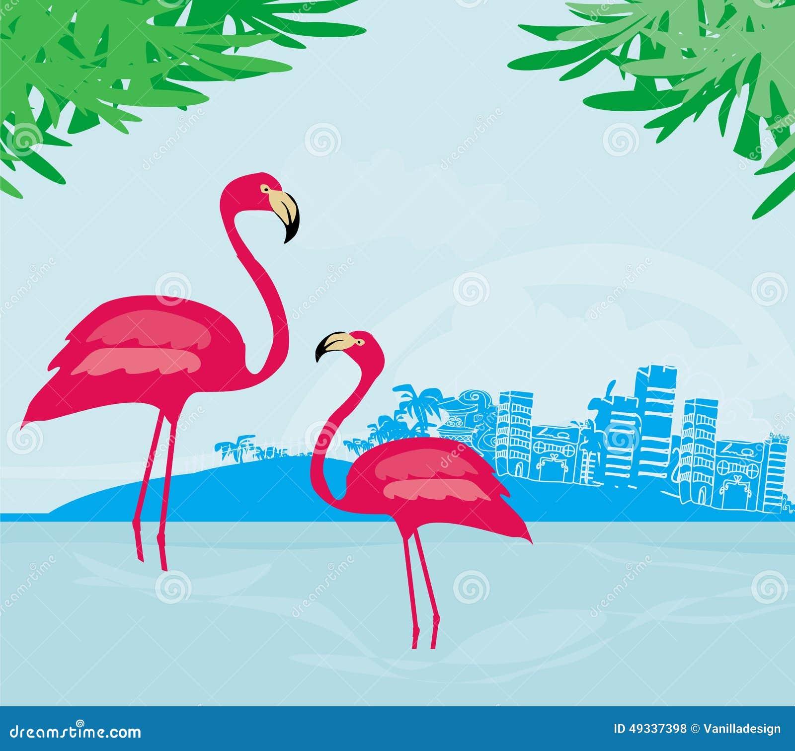 illustration avec les paumes vertes et le flamant rose illustration de vecteur image 49337398. Black Bedroom Furniture Sets. Home Design Ideas