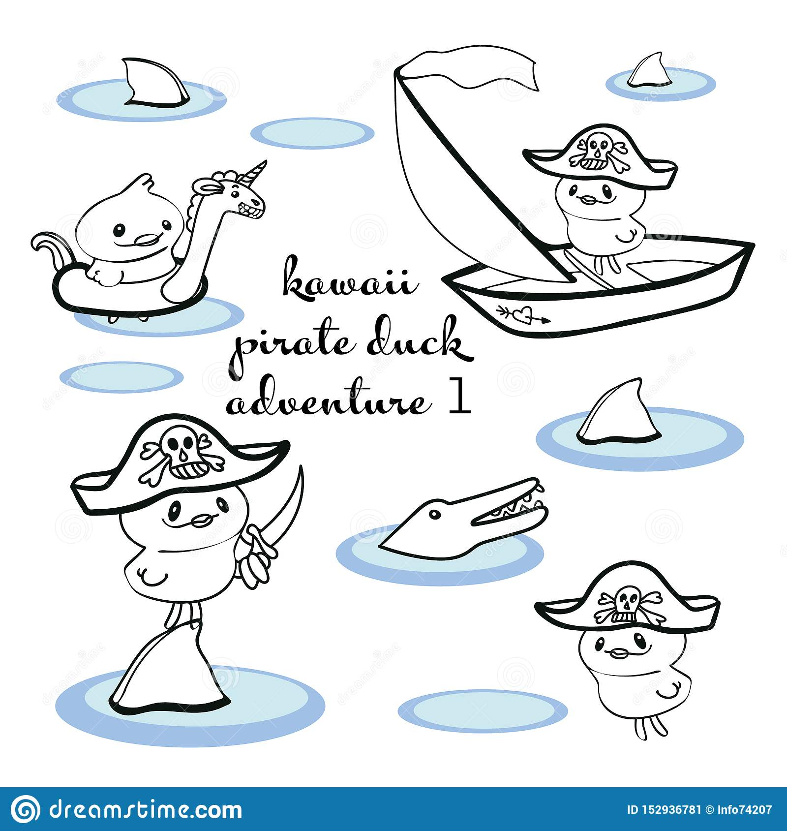 Illustration Avec Pirate De Kawaii De Schéma Illustration De