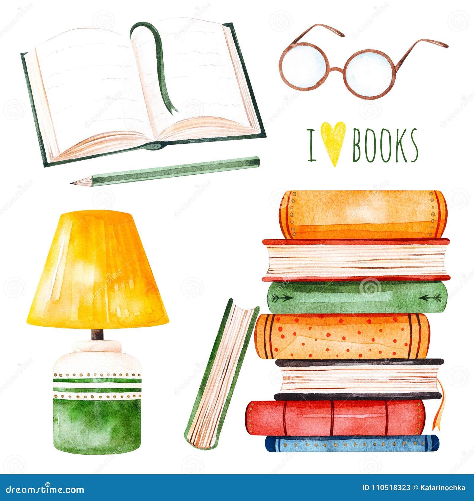 Illustration avec une pile énorme des livres, de la lampe, du livre ouvert, du crayon et des verres