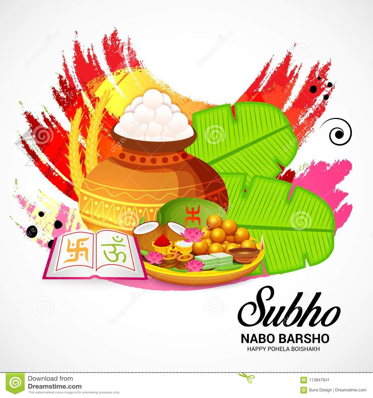 Bengali New Year Subho Nabo BarshoHappy Pohela Boishakh A Mud Pot Fill With Rasgulla