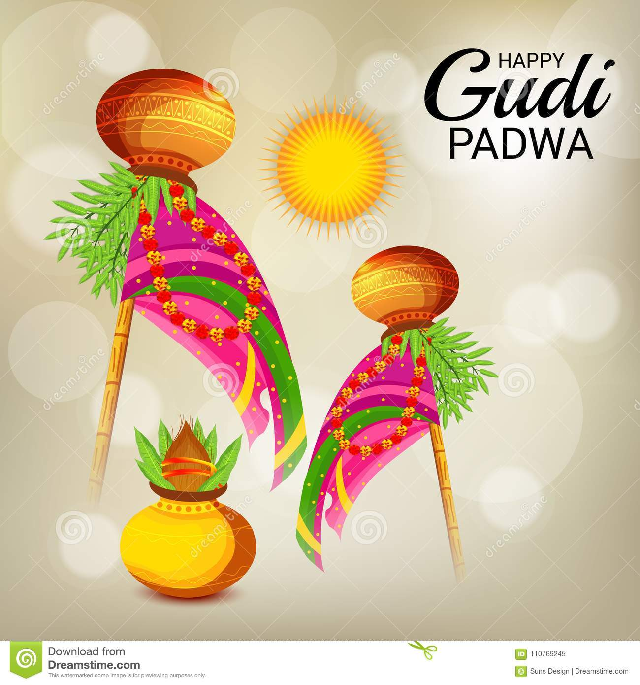 download happy gudi padwa marathi new year stock illustration illustration of greeting marathi
