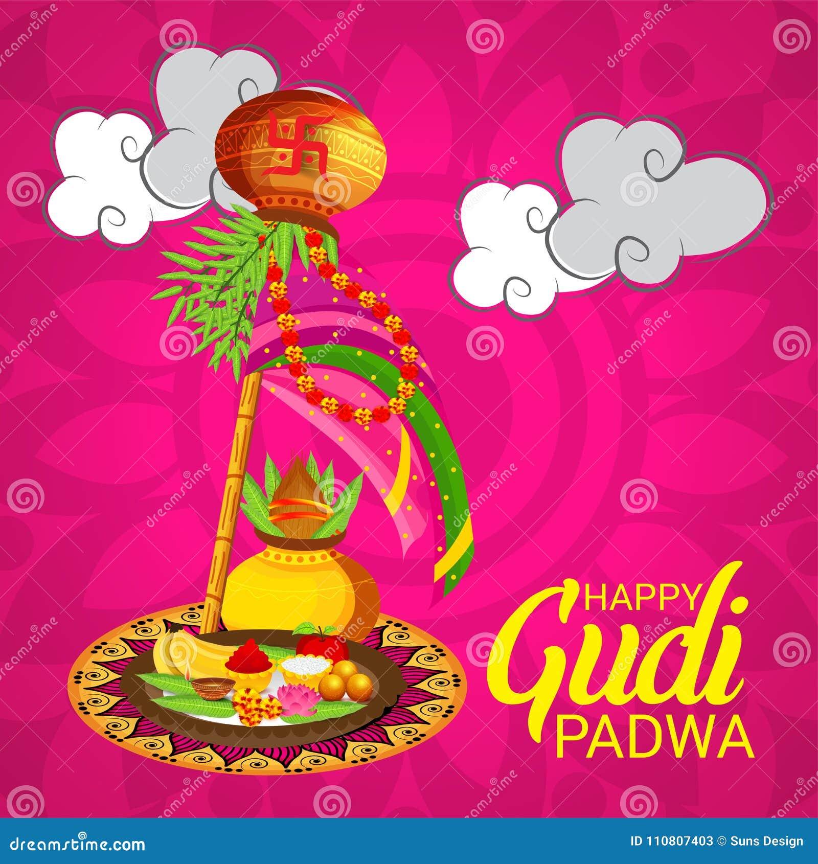 Happy Gudi Padwa Marathi New Year Stock Illustration Illustration