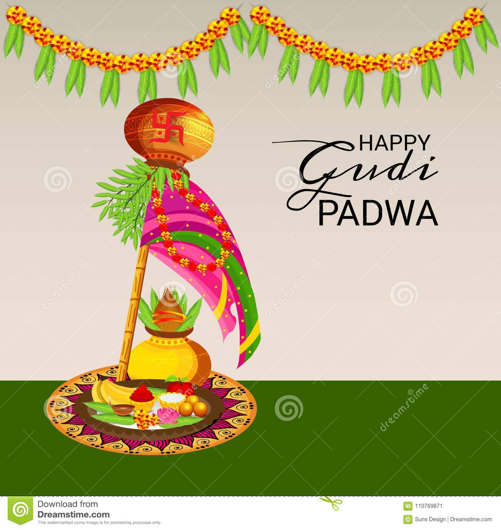 Happy gudi padwa marathi new year stock illustration illustration happy gudi padwa marathi new year bamboo card kristyandbryce Gallery