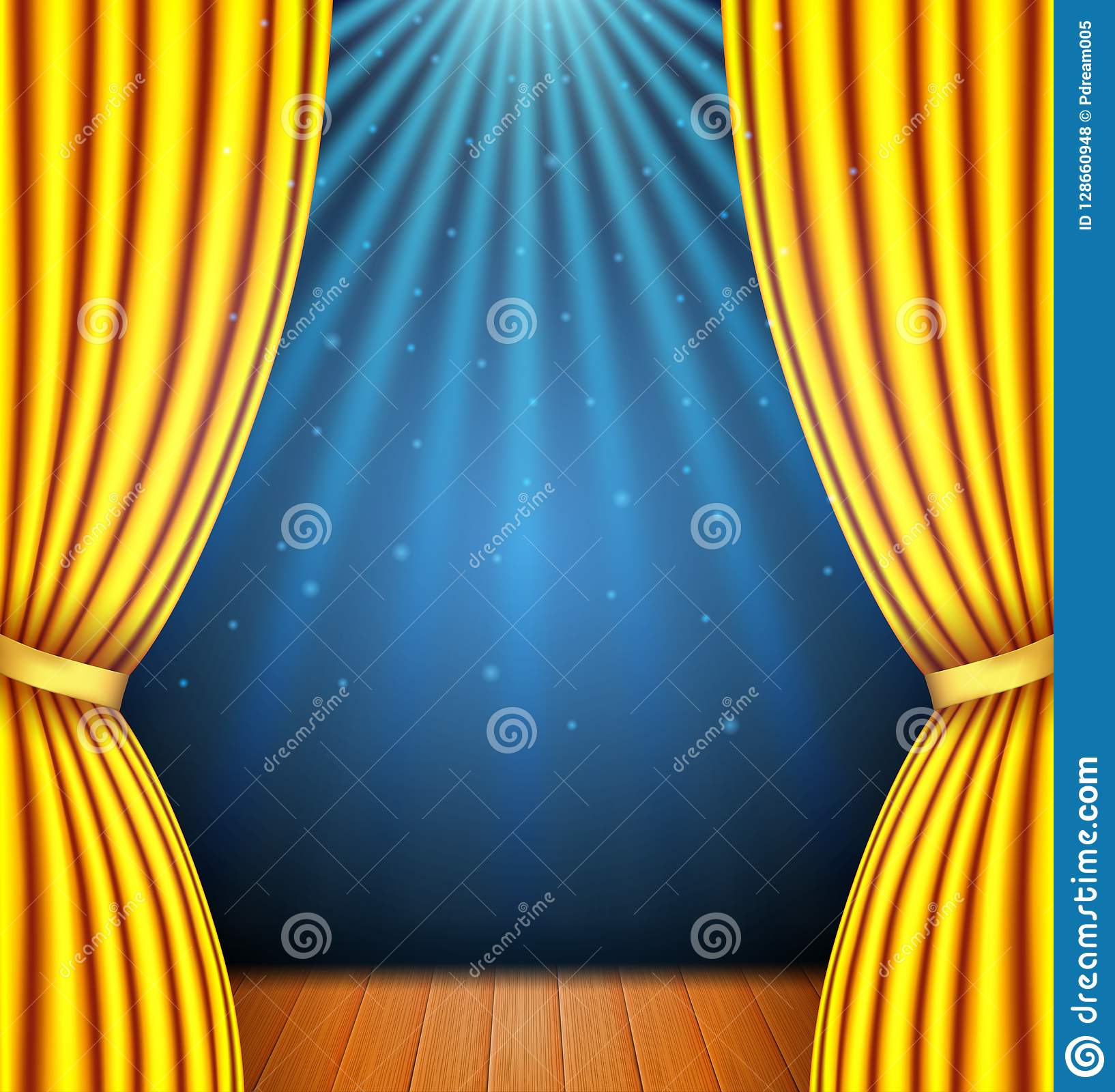 Background With A Yellow Curtain And A Spotlight Stock