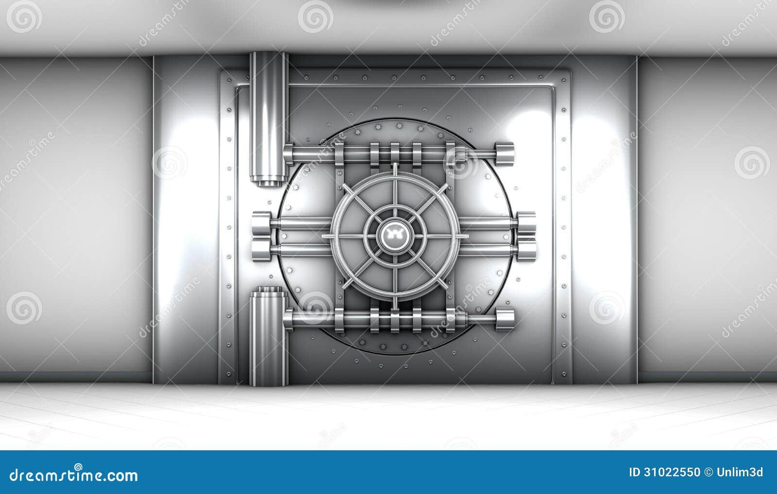 of bank vault door front view stock photo