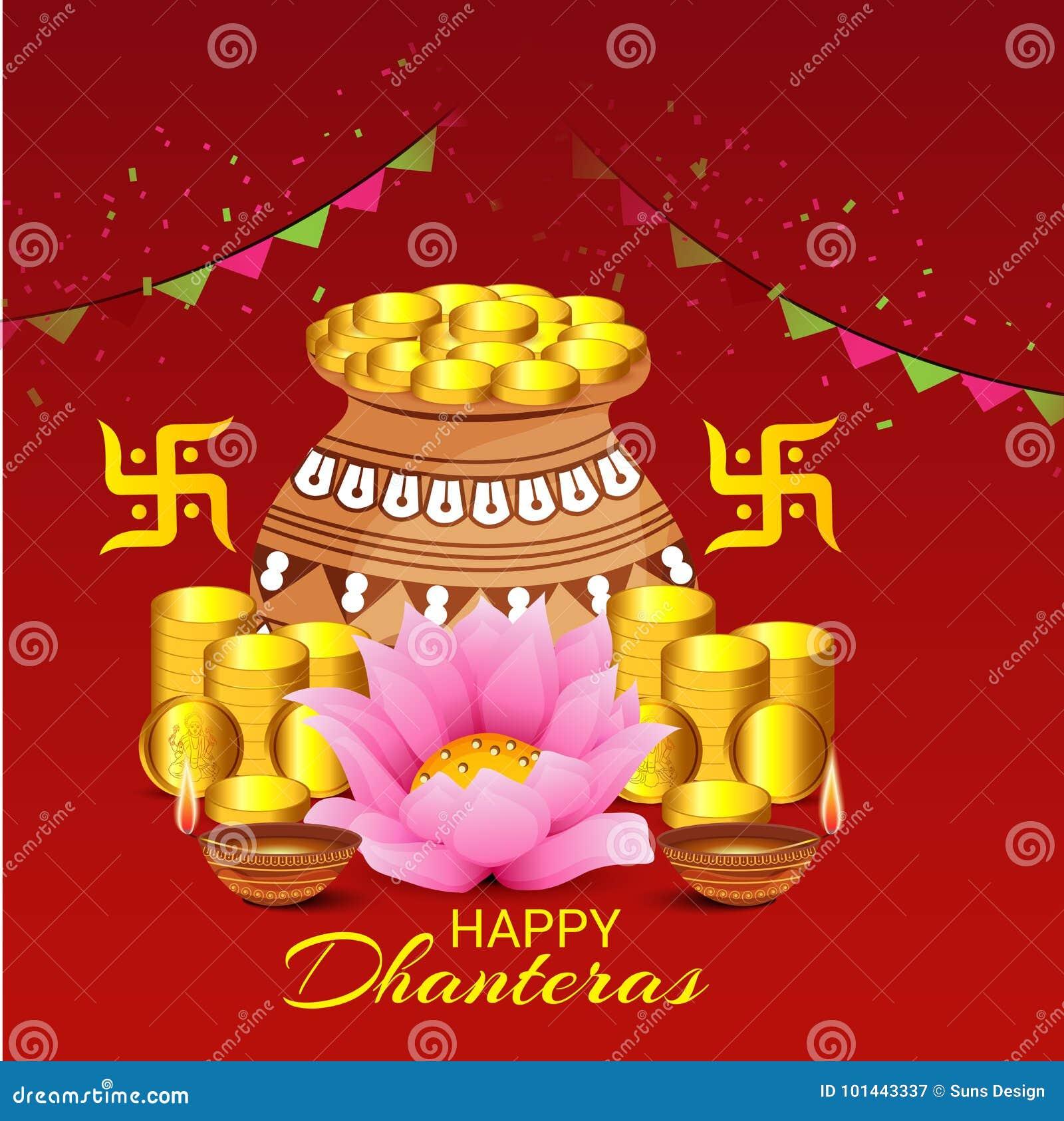 Dhanteras stock illustration illustration of design 101443337 illustration of a banner for happy dhanteras m4hsunfo