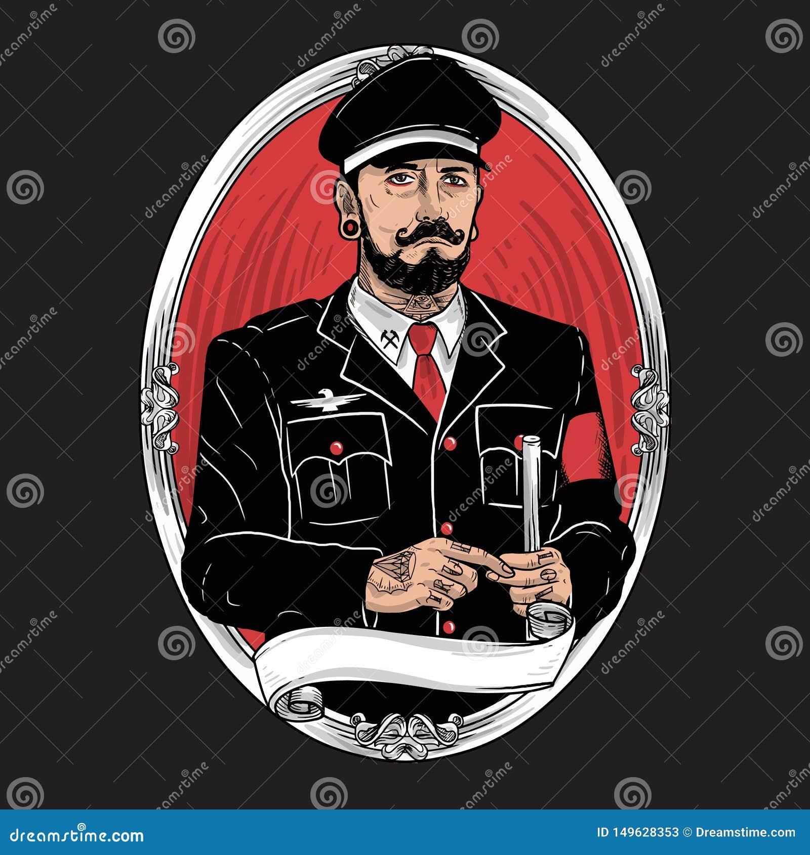 Illustration barbue de tatouage de moustache de caract?re militaire