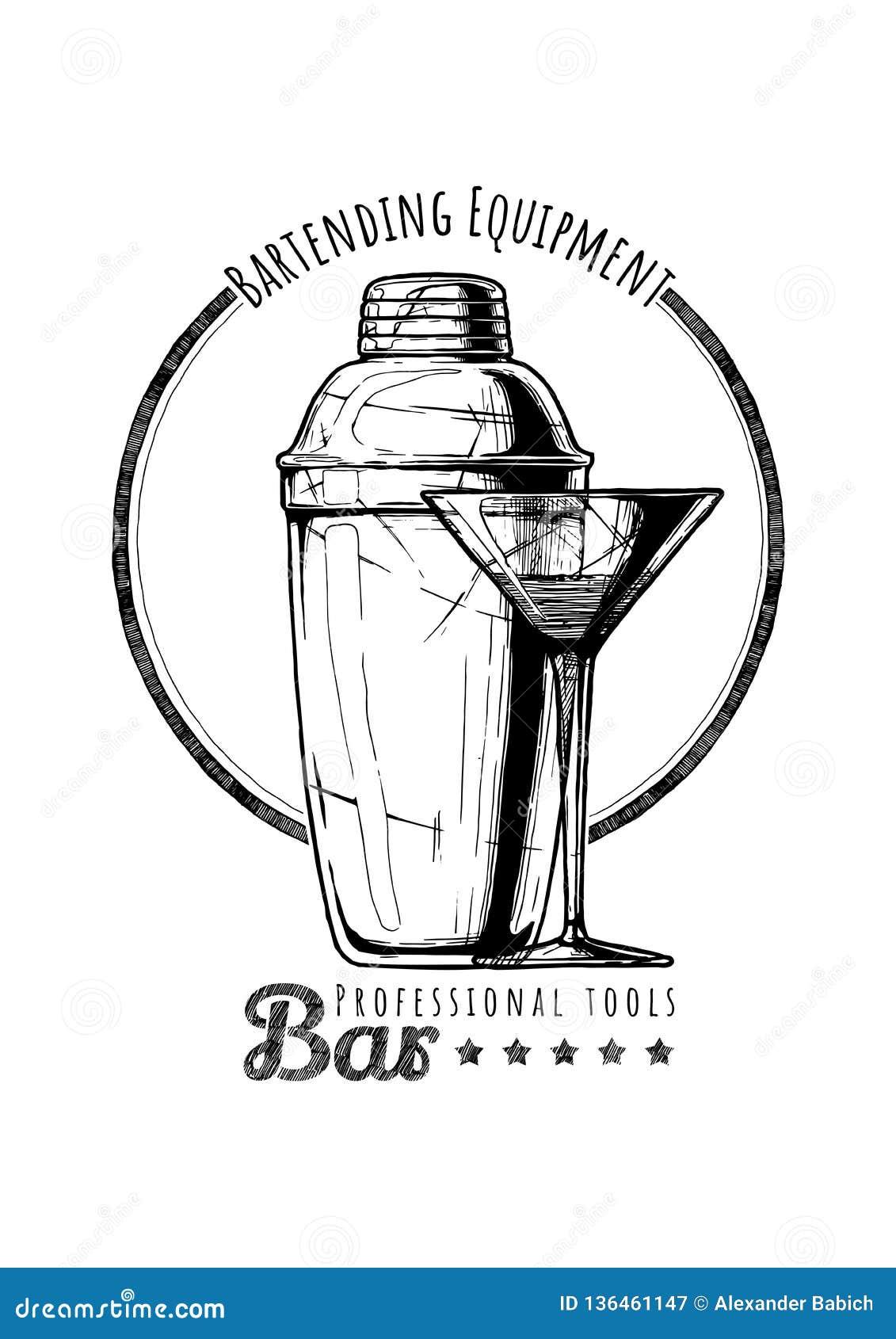 Illustration Of Bartending Equipment Stock Vector
