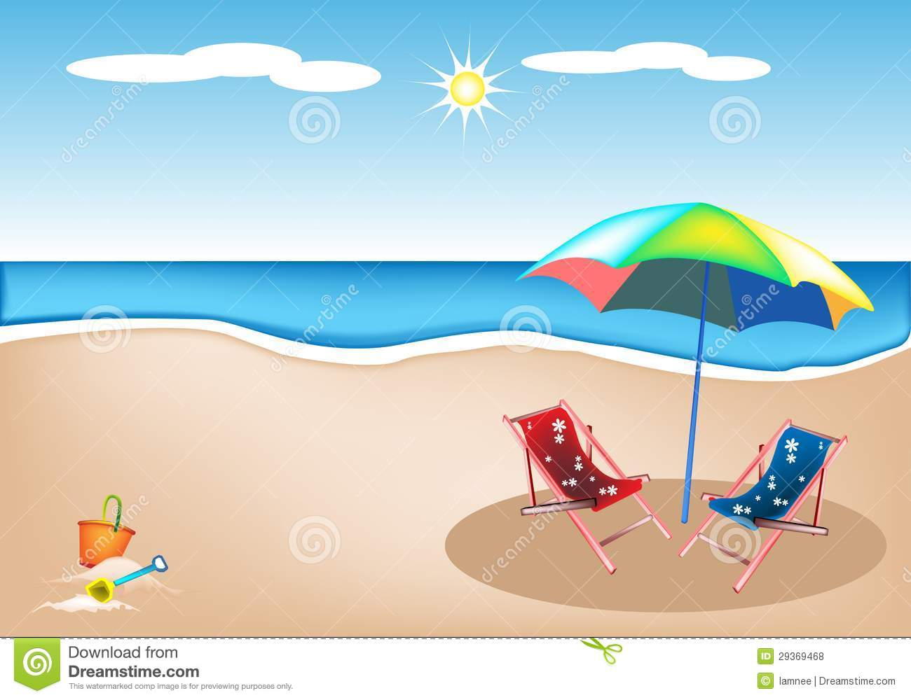 Illustration Of Beach Chairs With Umbrella And Toy Royalty Free Stock ...
