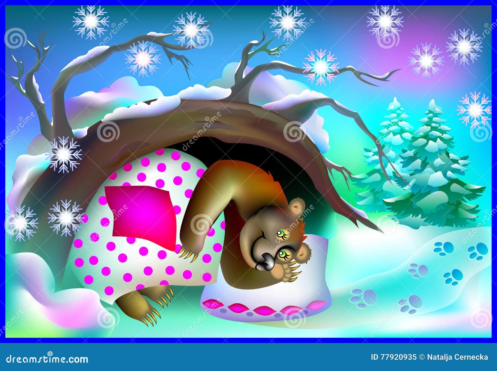 Bear Sleeping In Cave Vector Vector Illustration ... - photo#10