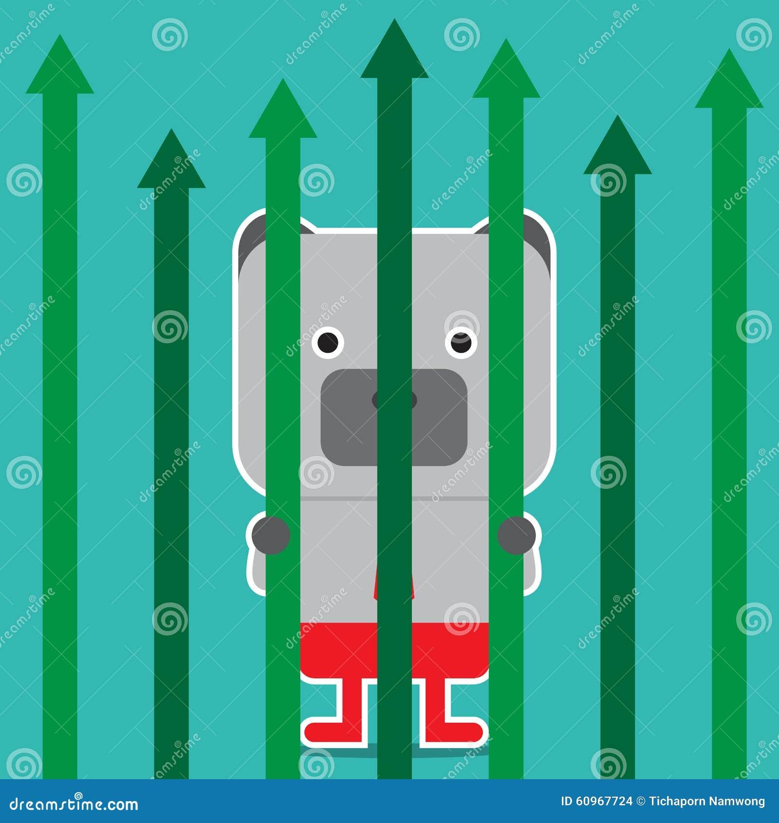 Illustration Of Bear Symbol Of Stock Market Trend Stock