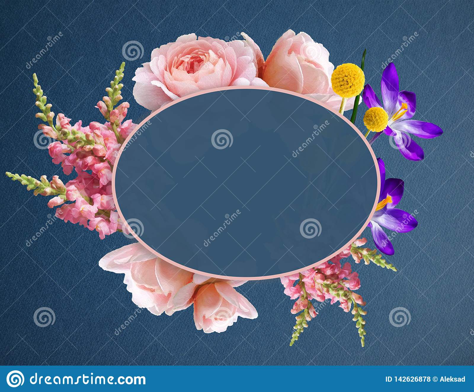 Illustration of a Beautiful Boho Flowers in Banner with Copy Space. Flower Wreath with roses, Crocus and other plants