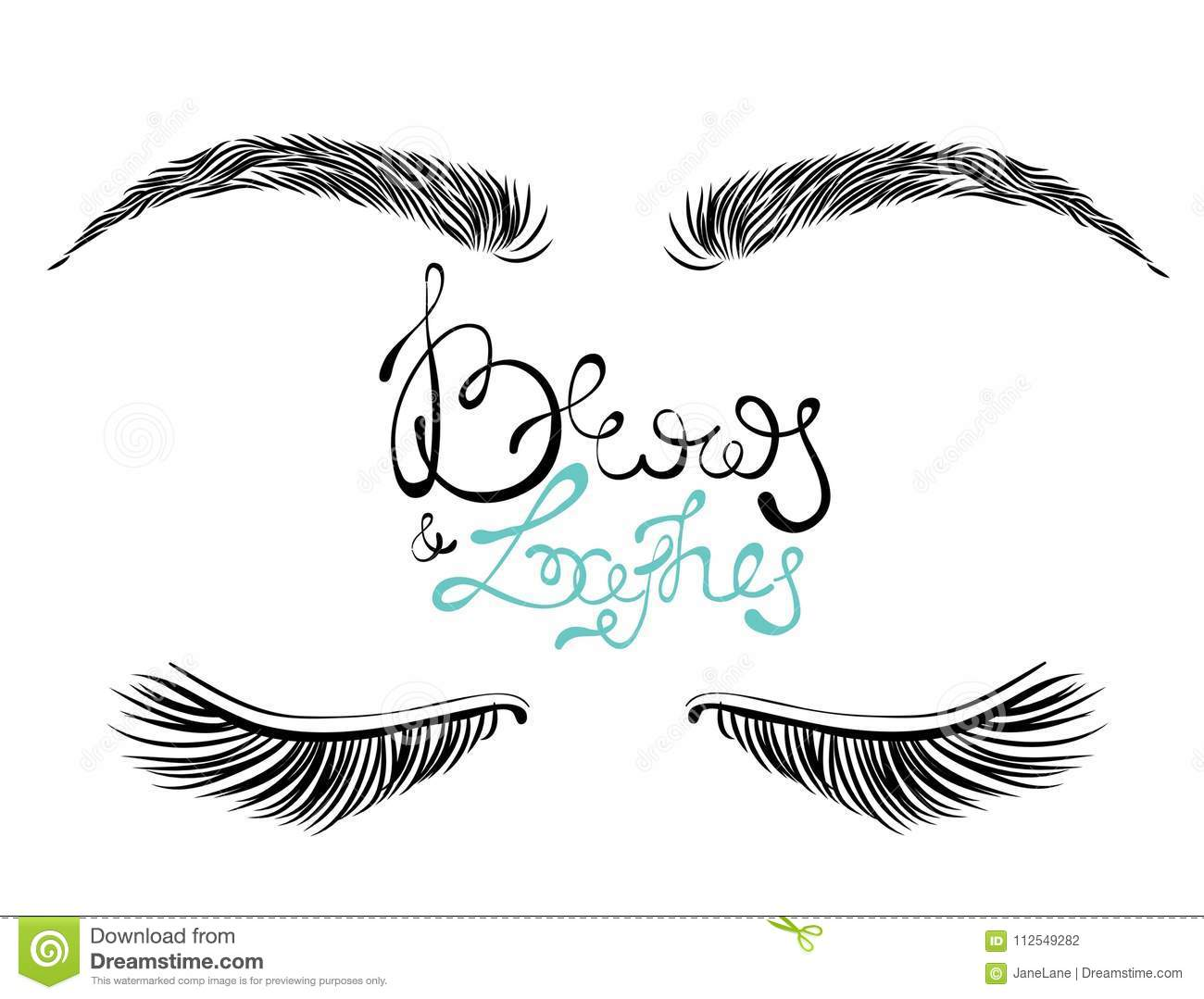 579f0f51f1a Royalty-Free Vector. Illustration of beautiful female long eyelashes and  brows