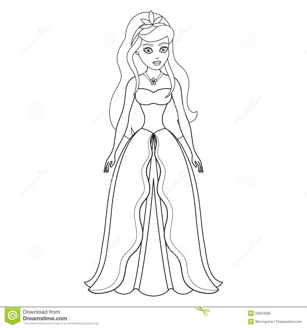 Illustration Of Beautiful Princess Coloring Book
