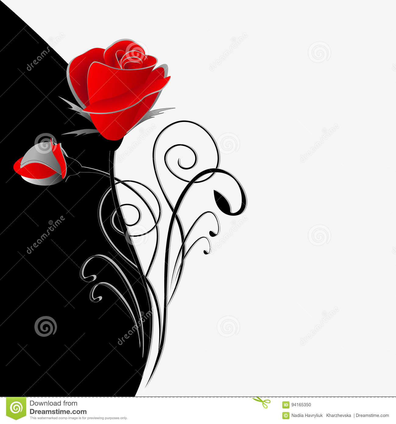 Illustration of beauty black and white floral background with a