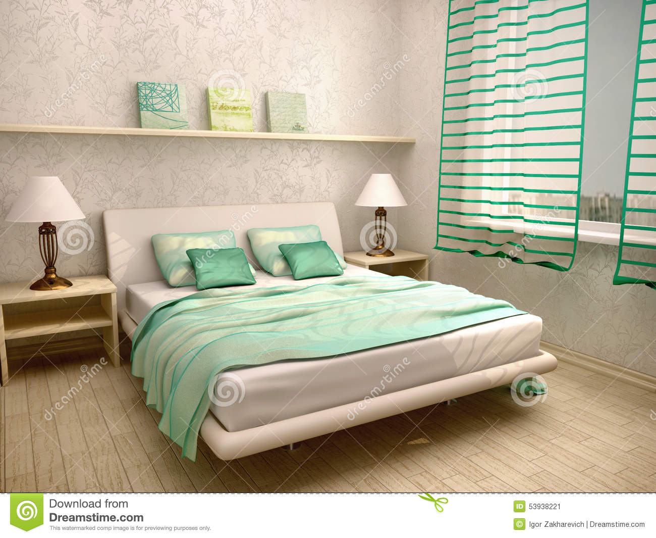 illustration of bedroom interior in a light turquoise 12110 | illustration bedroom interior light turquoise d 53938221