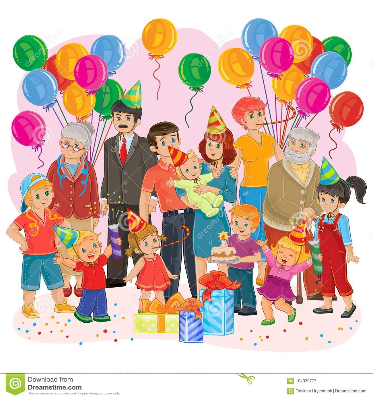 big happy family together celebrate a birthday with gifts balloons