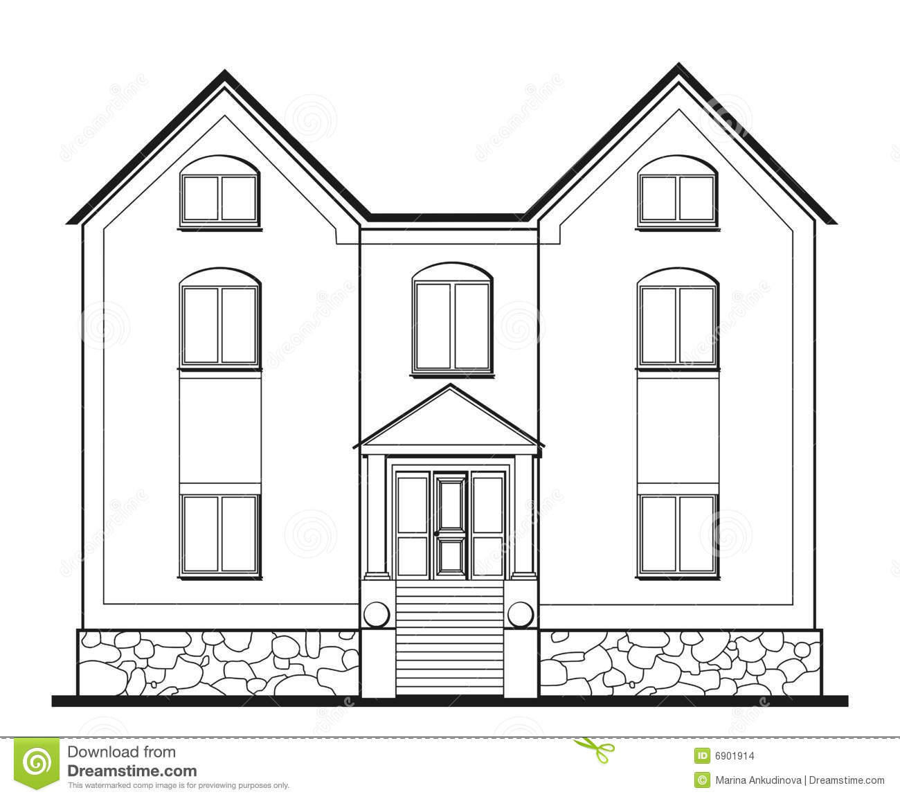 Illustration of big house stock vector image of front for Two story house drawing
