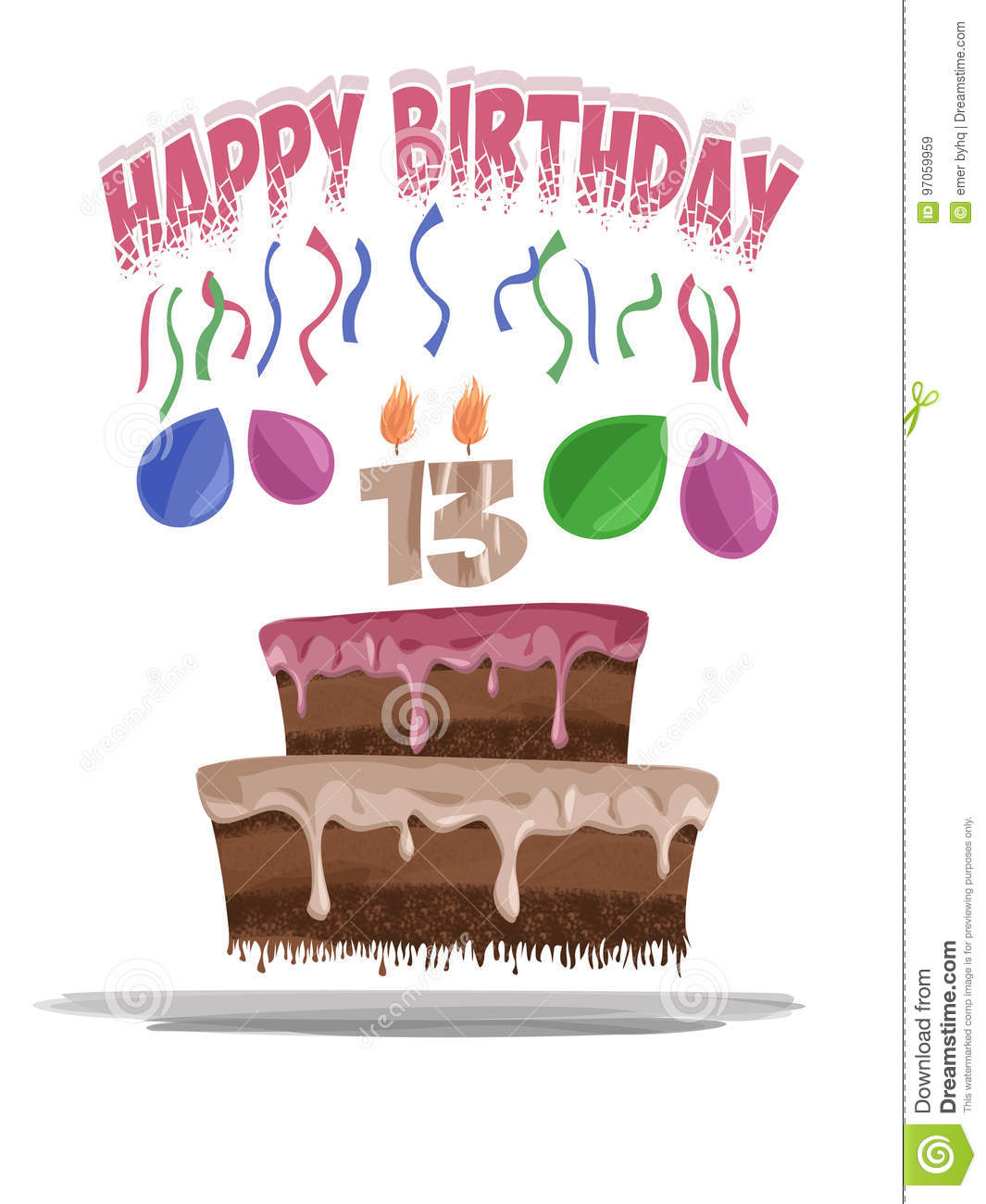 Illustration Of Birthday Cake At The Age Of 13 Stock Illustration