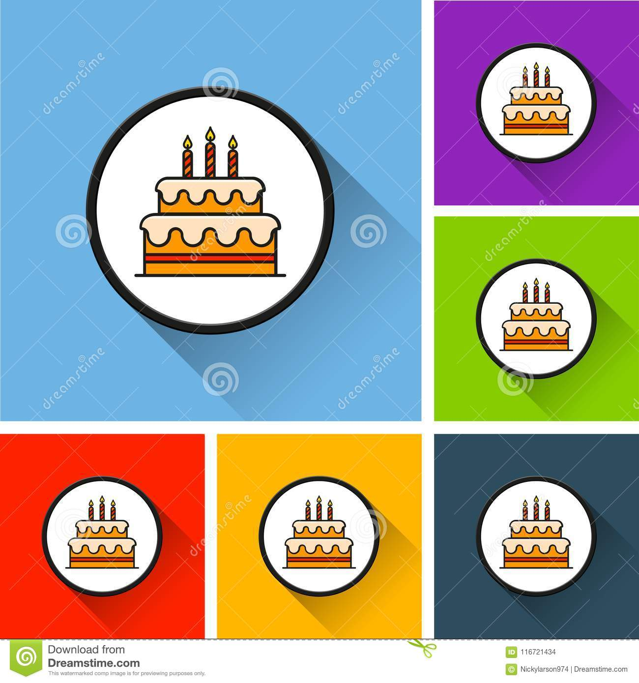 Birthday Cake Icons With Long Shadow Stock Vector Illustration Of