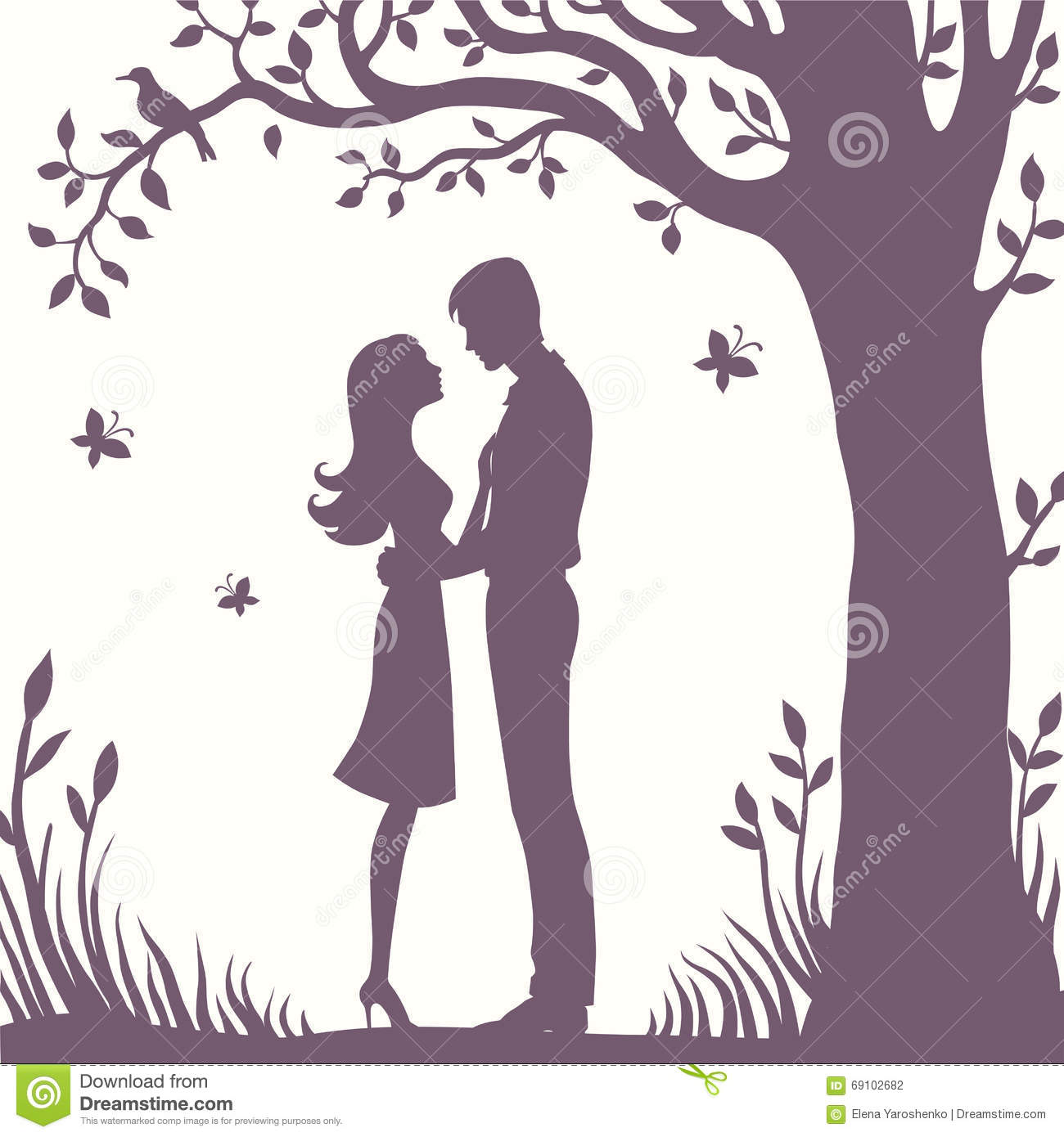 Illustration black silhouette of lovers embracing on a white background