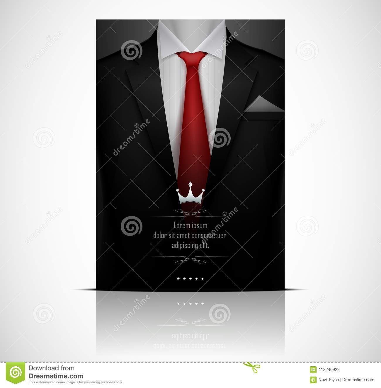 6c714fa336c9 Illustration of Black suit and tuxedo with red tie. More similar stock  illustrations