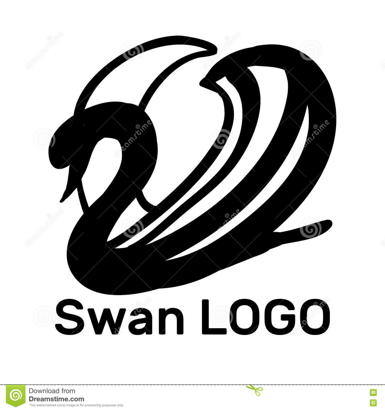 illustration of Black Swan Logo. Design template.
